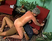 Short-haired granny acquires her snatch group-fucked from behind