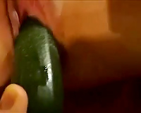 Poking my girlfriend's love tunnel with cucumber in non-professional movie