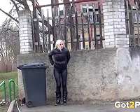 Naughty slender non-professional blond walks along the street and want to pee