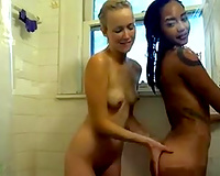 2 natural cam beauties with tiny mounds flashed their shaggy wet cracks in shower