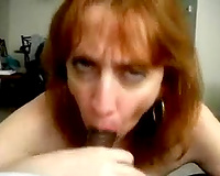 Mature wench white bitch of my ally sucks my BBC and swallows