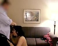 Big breasted short haired Desi non-professional bitch blows her client's dick