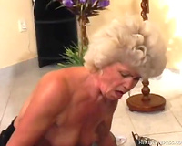 Granny is still fine at riding a schlong on top with filthy twat