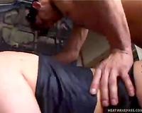 Hardcore double penetration fuck movie scene made in the garage
