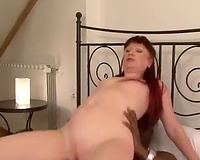 Riding her neighbor's big dark ramrod in her bedroom