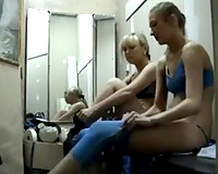 Spy livecam vid caught some hotties putting on their stuff in the sport changing room