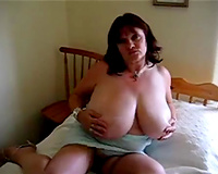 Busty cougar horny white wife is corpulent but her bumpers are massive and funky