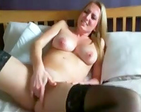 Boobalicious side sweetheart masturbating passionately in front of camera