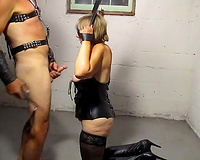 Trashy amateur mamma engulfing large cock balls unfathomable in homemade BDSM video