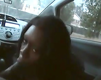 Black wench enjoyed to engulf my friend's dong in the car