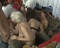 Old white whores and a bunch of lascivious white fellows having fuckfest