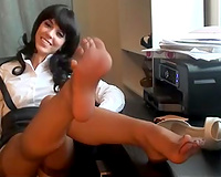 My hot brunette hair white bitch teases me with her hawt feet on the desk