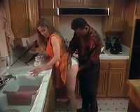 Sensational European beauty can't live without rimjob in the kitchen