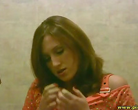 Amateur brunette called Lyalya juse makes water in the crapper flashing slit