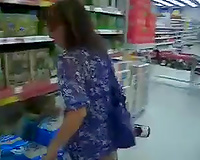 My enchanting white dirty slut wife wears no pants in the supermarket