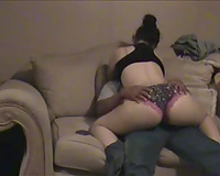 Big-assed dark brown GF enjoys rubbing her crotch against my groin