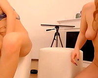 Two amateur web camera babes with natural wobblers had dildos for precious masturbation