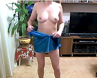 Wonderful perverted and all natural GF of my buddy showed off her cute pantoons
