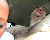 Dirty big beautiful woman skank enjoys engulfing my stiff knob in the car