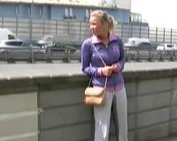 Busty Russian honey in yoga pants has pissing fetish