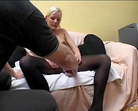Stupid blond slut gets her limp cookie bald by fellow