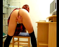 German cam floozy in student uniform teases me with her arse