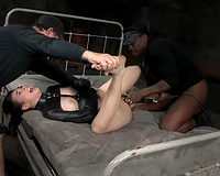 Pallid bootylicious dark haired babe in str8 jacket is screwed hard