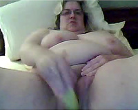 big beautiful woman granny masturbating with monster sex toy in homemade movie