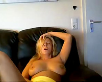 Amazing emotional and truly hot like fire blond mother I'd like to fuck was fingering herself