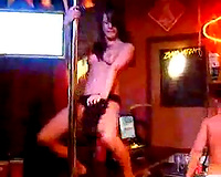 Drunk as fuck teeny girlfriend gives disrobe dance at the night club
