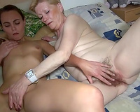 Ancient pale bodied granny in lesbian show with juvenile brunette hair