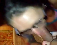 Nerdy tattooed dark head did her most good whilst blowing my lollicock