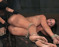 Brunette milf lies tied and bare obtainable for sex