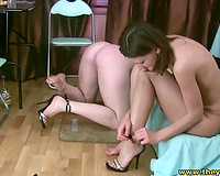 Two bawdy quite buxom brunettes are fond of teasing wet cracks in weird way