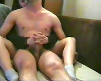 Brunette girlfriend gives me a tugjob and footjob in socks