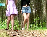 Brunette and redhead enchanting Russian girl pissing in the forest