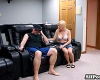 Blonde and breasty neighbour white lady likes sex on web camera with me