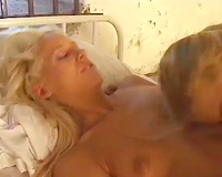 This 2 concupiscent blondes play with massive sextoy on duty