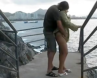 Mature French mama drilled on a public beach outdoor