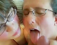 Two nerdy barely legal coed cuties acquire facial from me