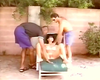 Filthy classic brunette hair milf surrounded by 2 men