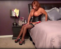 Red haired super bosomy mother I'd like to fuck positions in her hawt lingerie and hose