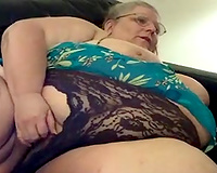 300 pounds of horniness on cam - corpulent granny in act