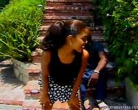 Torrid brunette hair mistress receives her hot poontang eaten outdoors