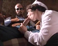 Sensual and wang hungry nurse gives fleshly head at work