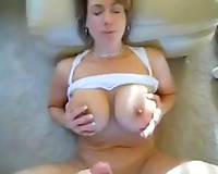 My golden-haired black cock sluts lets me cum on her mounds and licks my cock clean