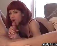 Enthusiastic redhead wifey sucks my hard boner on web camera with pleasure