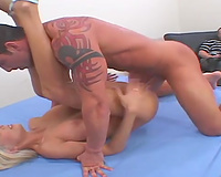 Wild blond hawt woman wants to be team-fucked hardcore by a man