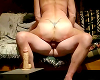 Trashy aged whore engulfing my cock during the time that grinding over huge sex toy