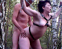 Fucking my bulky obedient bitch slutty wife doggystyle in forest